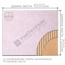 Микрогофрокартон Т-23 бел/бур (Д) 1000 х (Ш) 700 мм