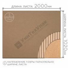 Гофрокартон Т-22 бурый (Д) 2000 х (Ш) 1020 мм
