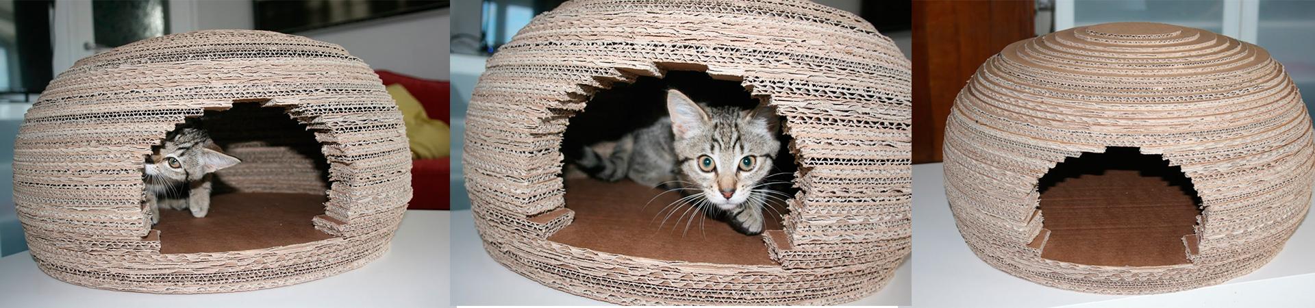 Как сделать домик для кошки из картона своими руками